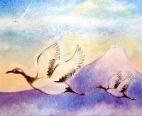 画像「富士と鶴と竜雲」